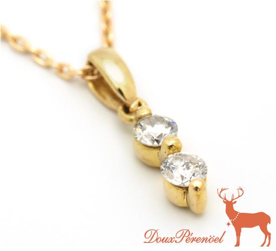 【中古】ダイヤ ネックレス K18YG D:0.16 【18金イエローゴールド】【ダイヤモンド】【シンプル】【レディース】【女性】