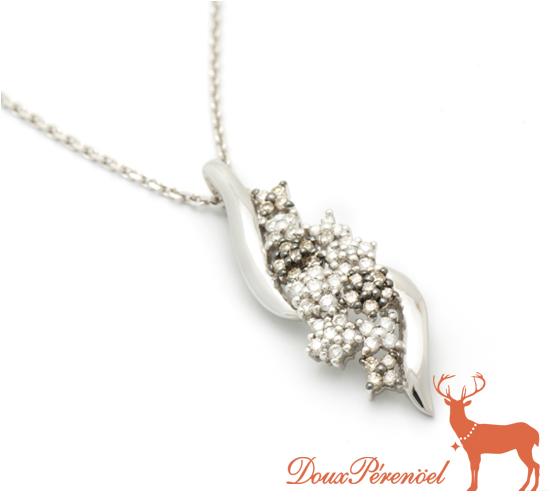 【中古】ダイヤモンド ネックレス K18WG D:0.25 BD:0.16 【18金ホワイトゴールド】【ブラウン】【レディース】【女性】