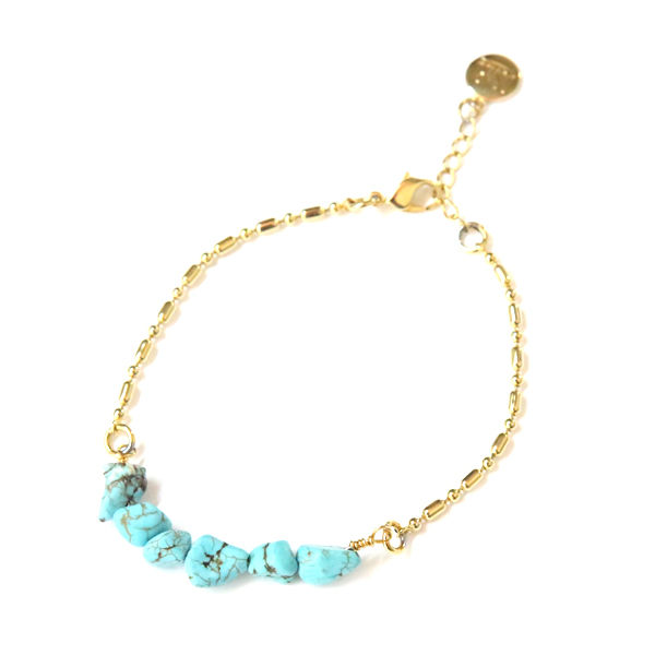 DOWBL/ ダブル/ Stone Turquoise Anklet 【全1色】