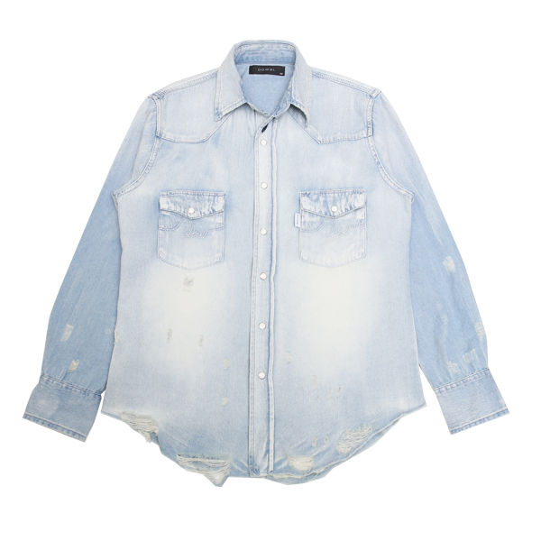 DOWBL/ ダブル/ Damaged Logo Stitch Denim Shirt 【全1色】