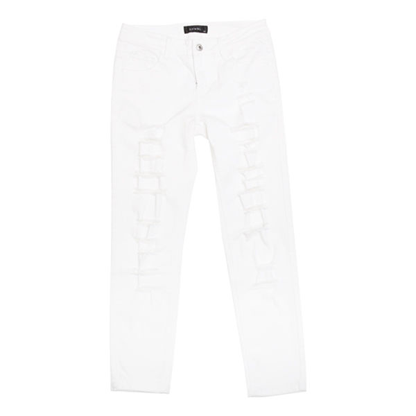 DOWBL/ ダブル/ Super Skinny Damage White Pants 【全1色】
