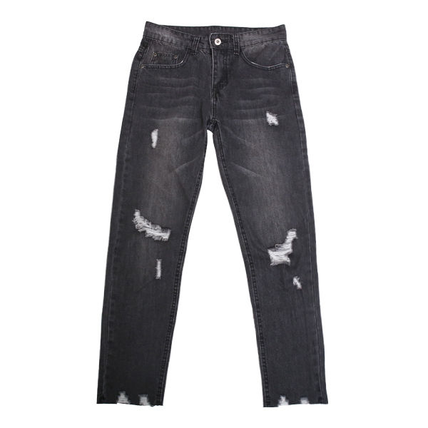 DOWBL/ ダブル/ Tattered Damage Skinny Denim 【全1色】