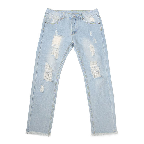 DOWBL/ ダブル/ Damage Bleach Cut Skinny Denim 【全1色】