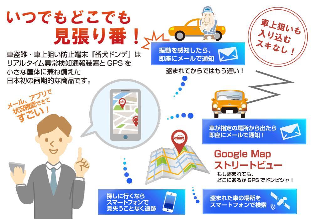 【セキュリティプロショップからの新提案】【取り付け不要、超小型】【GPS付き盗難、車上狙い防止端末】【番犬ドンデ2】
