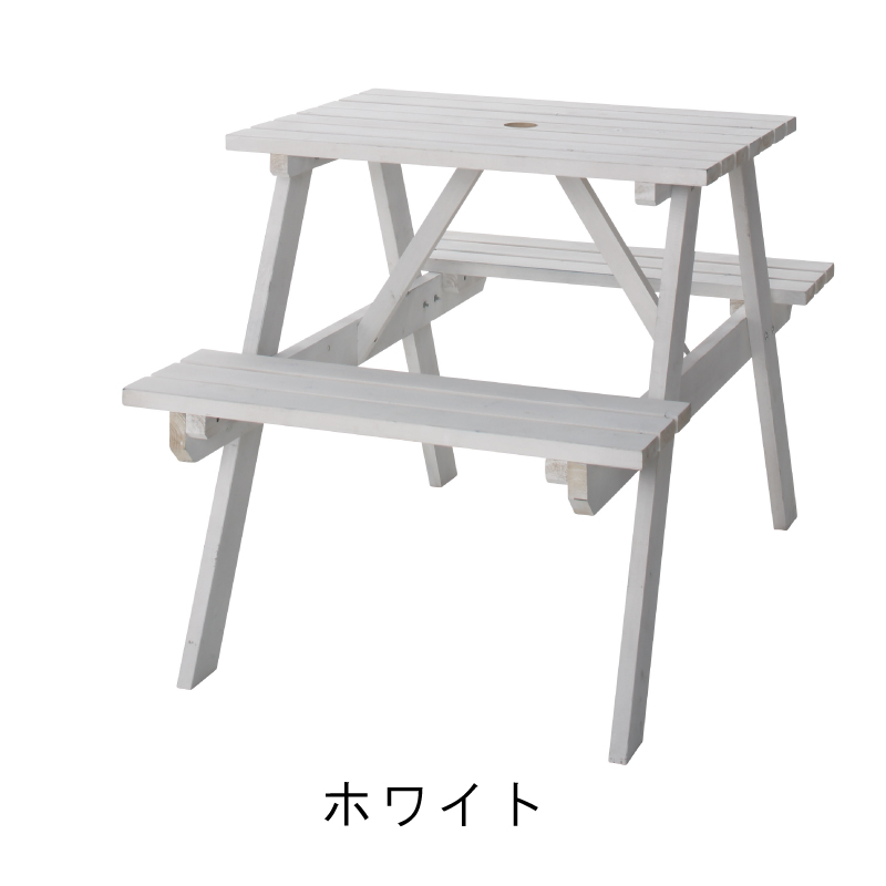 テーブル&ベンチ 白 W75 アウトドア 木製 ホワイト お家キャンプ キャンプギア