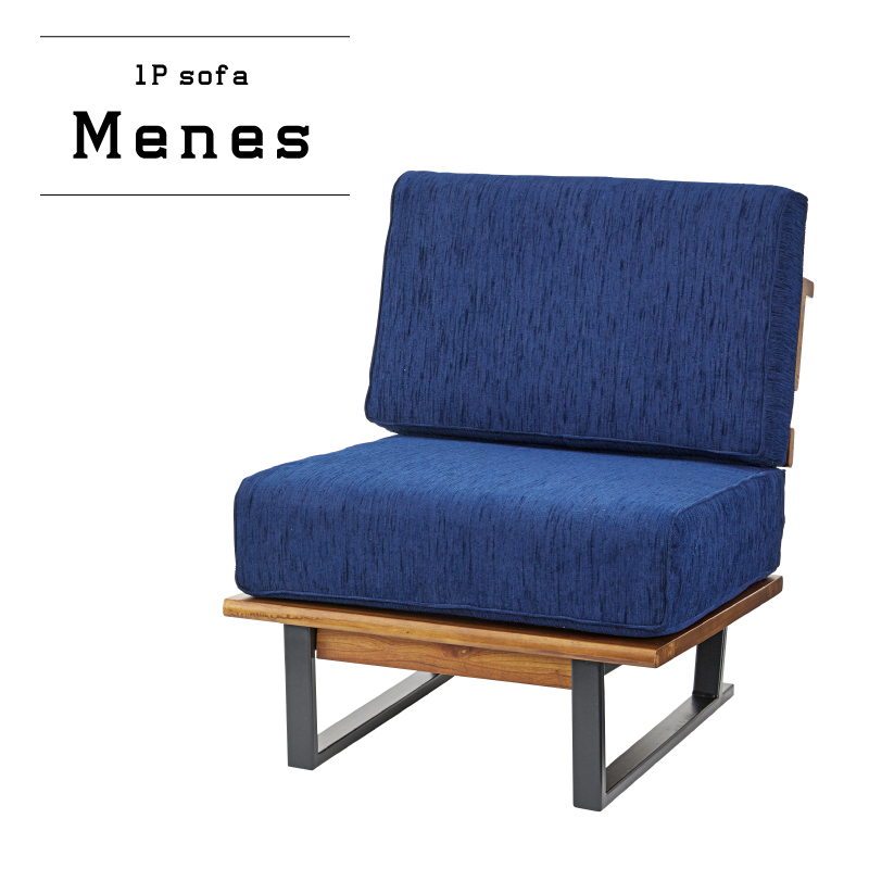 ソファー 1人掛け ソファ シングルソファ チェア 椅子 1P 一人掛け ベンチ ファブリック カジュアル ヴィンテージ ネイビー ブルー