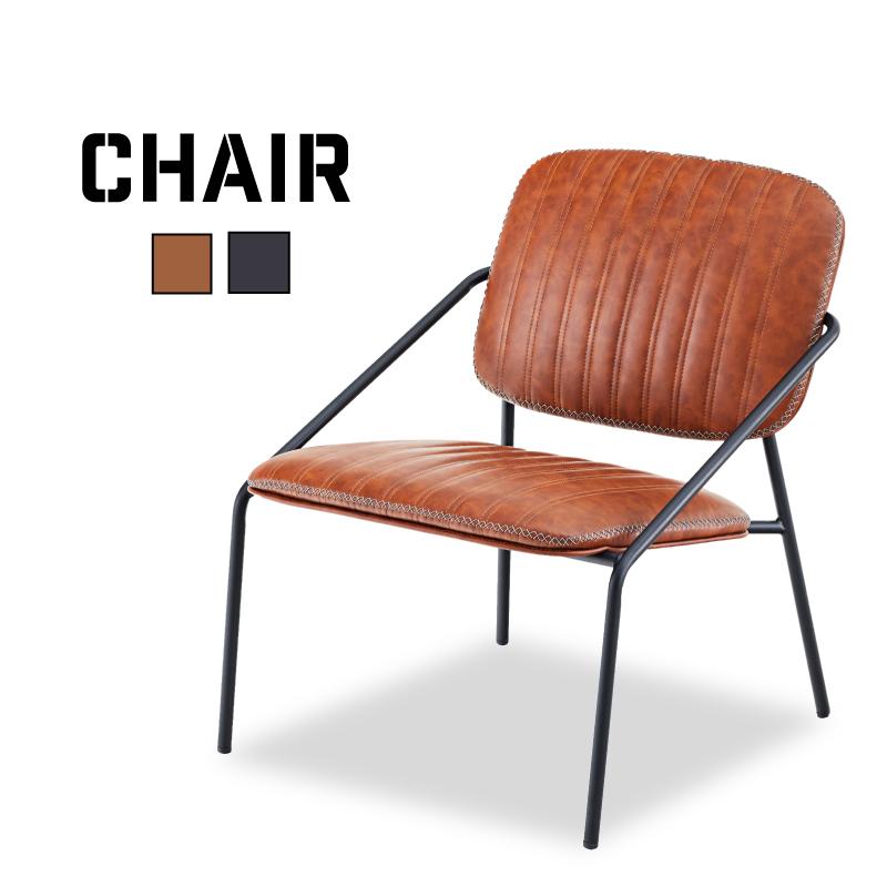 チェア おしゃれ 椅子 パーソナルチェア スチール ソフトレザー インダストリアル
