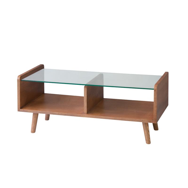 ローテーブル センターテーブル ガラステーブル おしゃれ 90cm 棚付き 木製