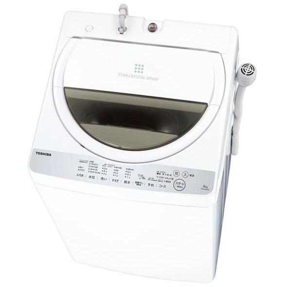 【時間指定不可】【離島配送不可】AW-6G6-W 全自動洗濯機 TOSHIBA 東芝 洗濯・脱水6.0kg AW6G6W グランホワイト
