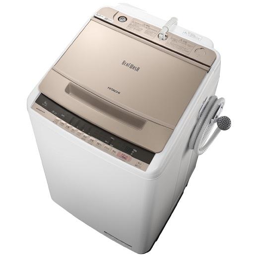 【時間指定不可】【離島配送不可】BW-V80C-N 全自動洗濯機 HITACHI 日立 ビートウォッシュ 洗濯・脱水容量8kg BWV80CN シャンパン