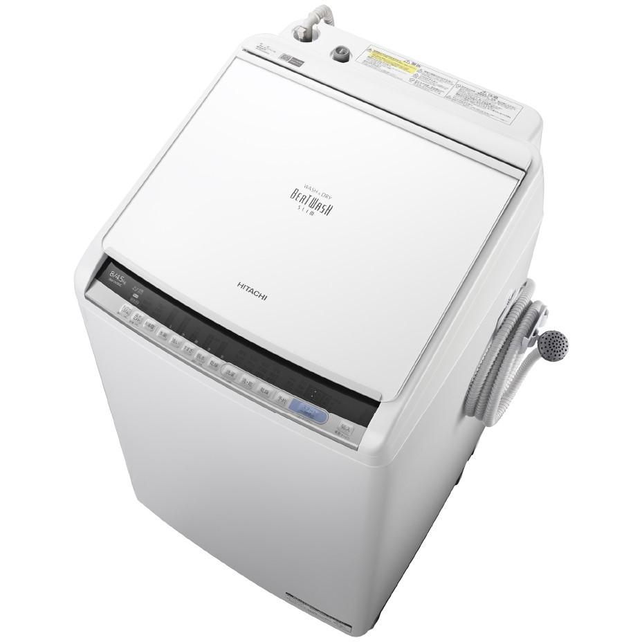 【日時指定不可】【離島配送不可】BW-DV80C-W 洗濯乾燥機 HITACHI 日立 ビートウォッシュ 洗濯・脱水容量 8.0kg 洗濯~乾燥・乾燥容量 4.5kg BWDV80CW ホワイト