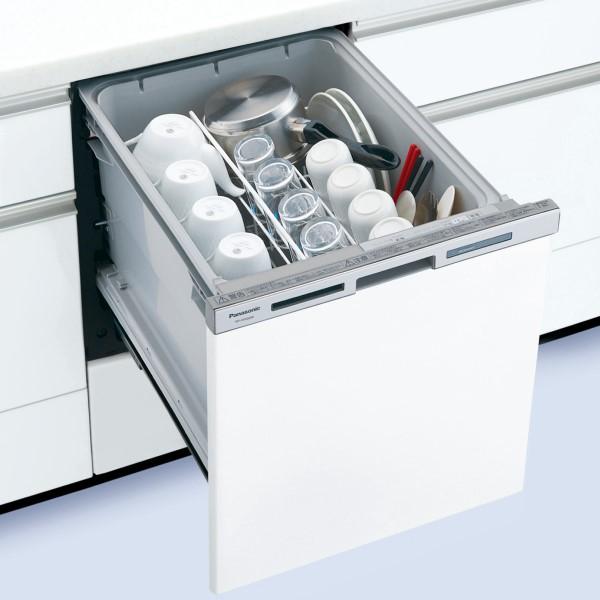 【時間指定不可】【離島配送不可】NP-45MS8W ビルトイン食器洗い乾燥機 Panasonic パナソニック M8シリーズ ミドルタイプ(幅45cm) ドア面材型 NP45MS8W