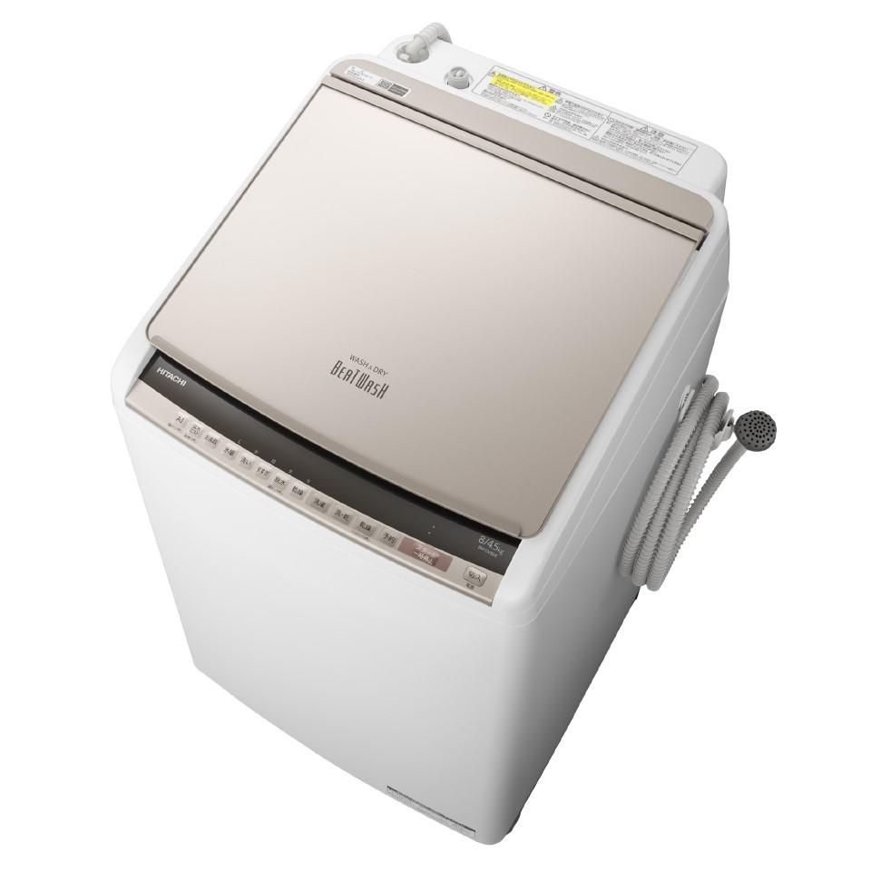 【日時指定不可】【離島配送不可】BW-DV80E-N 洗濯乾燥機 HITACHI 日立 ビートウォッシュ 洗濯・脱水容量8.0kg 洗濯~乾燥・乾燥容量4.5kg BWDV80EN シャンパン