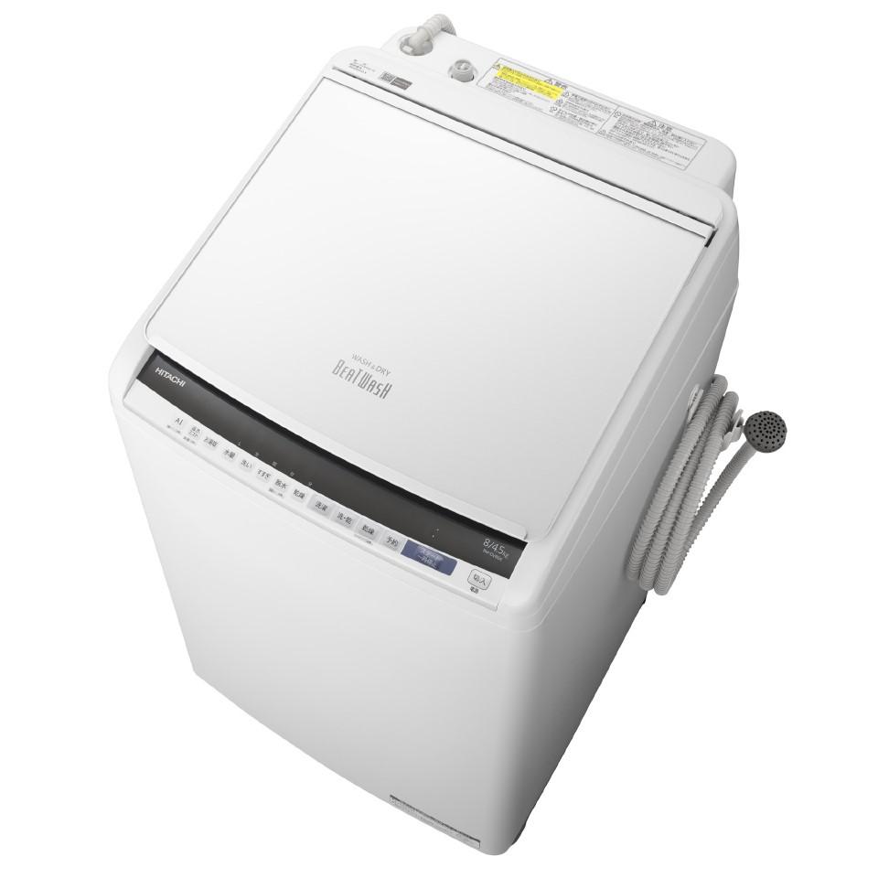 【日時指定不可】【離島配送不可】BW-DV80E-W 洗濯乾燥機 HITACHI 日立 ビートウォッシュ 洗濯・脱水容量8.0kg 洗濯~乾燥・乾燥容量4.5kg BWDV80EW ホワイト