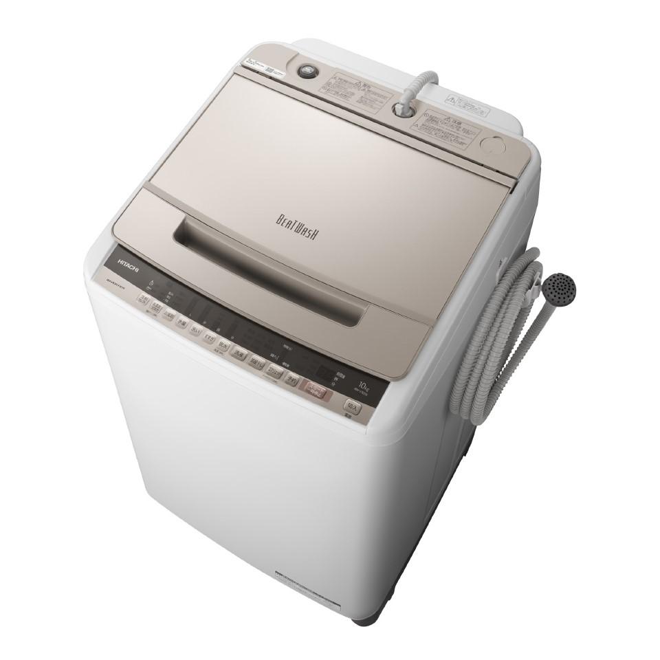 【日時指定不可】【離島配送不可】BW-V100E-N 全自動洗濯機 HITACHI 日立 ビートウォッシュ 洗濯・脱水容量10kg BWV100EN シャンパン