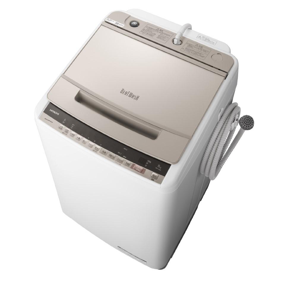 【時間指定不可】【離島配送不可】BW-V80E-N 全自動洗濯機 HITACHI 日立 ビートウォッシュ 洗濯・脱水容量8kg BWV80EN シャンパン