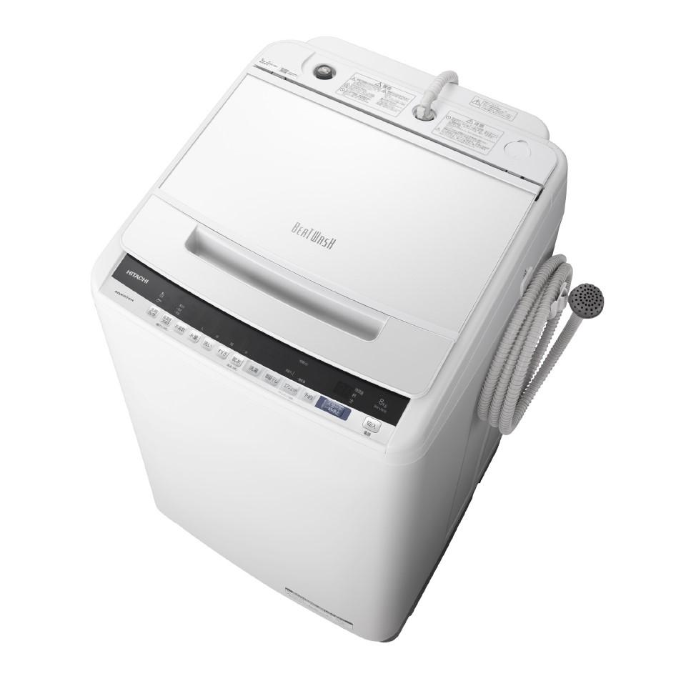 【時間指定不可】【離島配送不可】BW-V80E-W 全自動洗濯機 HITACHI 日立 ビートウォッシュ 洗濯・脱水容量8kg BWV80EW ホワイト