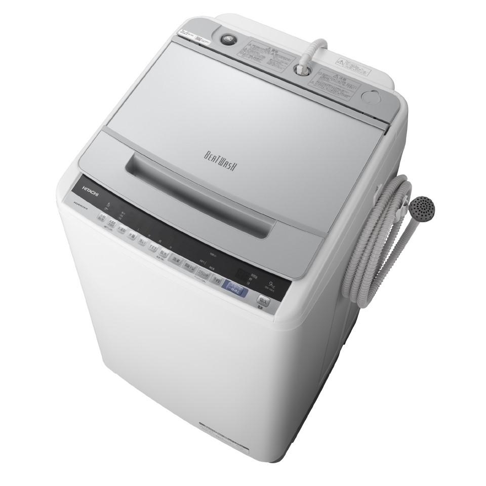 【日時指定不可】【離島配送不可】BW-V90E-S 全自動洗濯機 HITACHI 日立 ビートウォッシュ 洗濯・脱水容量9kg BWV90ES シルバー