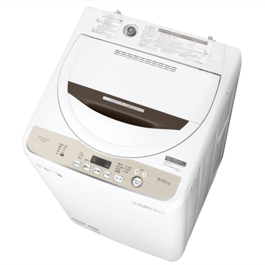 【時間指定不可】【離島配送不可】ES-GE6D-T 全自動洗濯機 SHARP シャープ 洗濯・脱水容量6kg ESGE6DT ブラウン系
