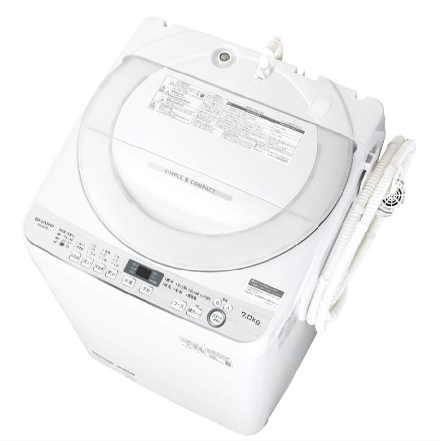 【時間指定不可】【離島配送不可】ES-GE7D-W 全自動洗濯機 SHARP シャープ 洗濯・脱水容量7kg ESGE7DW ホワイト系【KK9N0D18P】