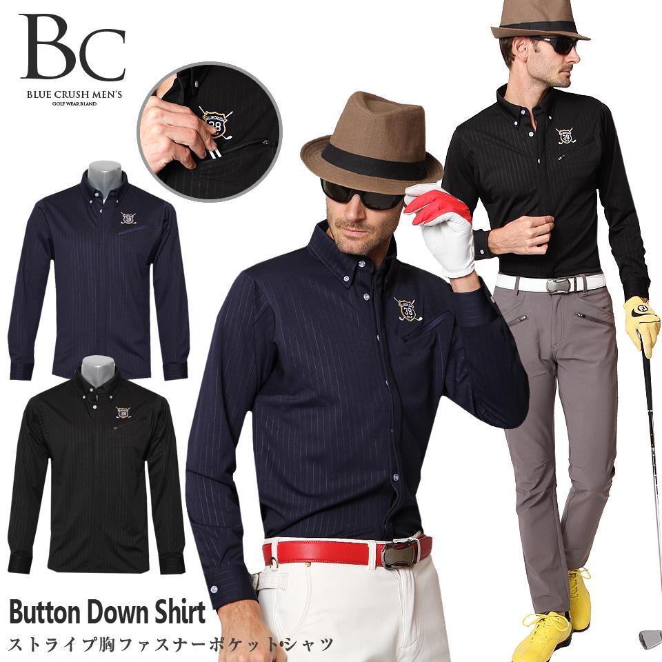 ゴルフウェア メンズ 秋 冬 ポロシャツ おしゃれ 長袖 ゴルフポロ ボタンダウン ストライプ ドラゴンブルークラッシュ トップス