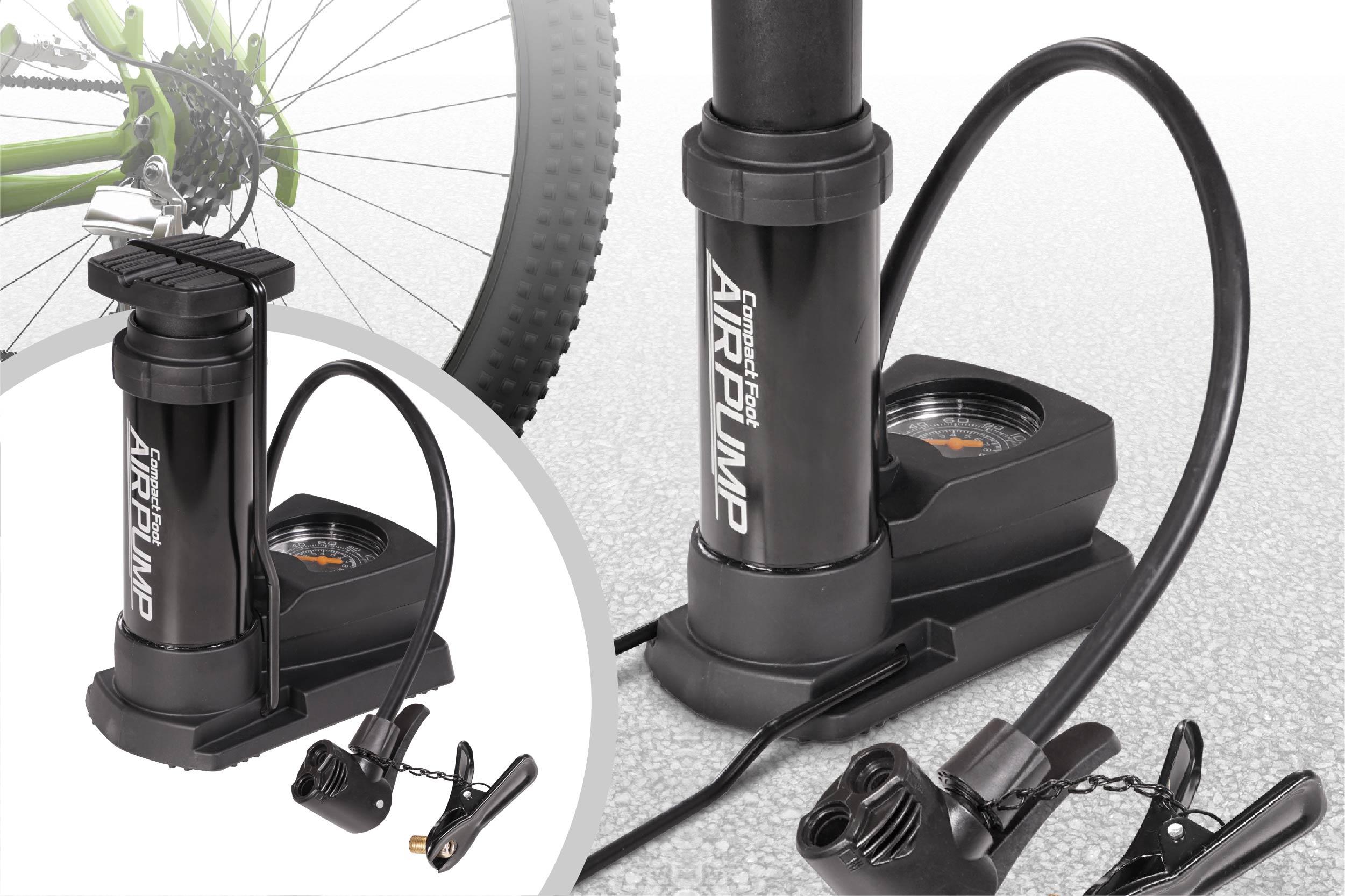 コンパクト収納 コンパクトエアーポンプ 空気入れ 自転車 ボール 浮き輪空気圧ゲージ付き 便利