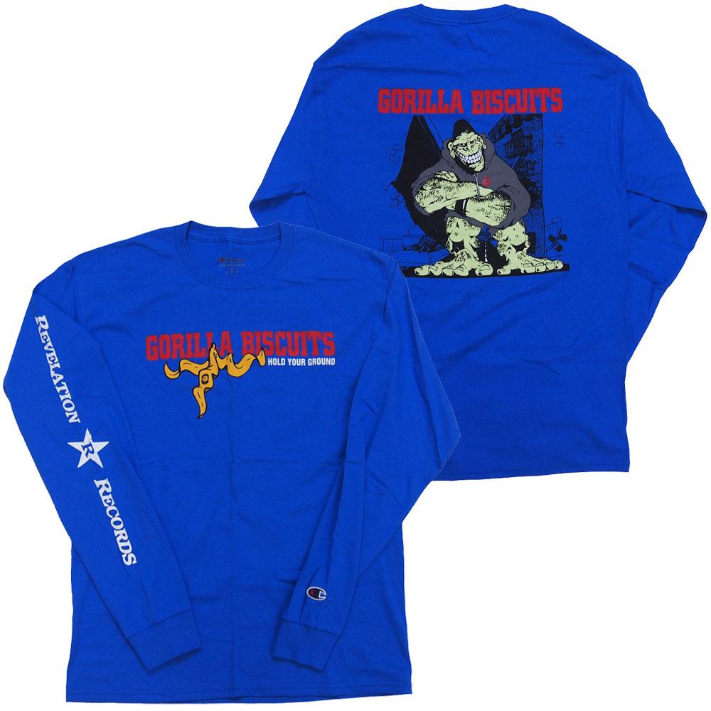ハードコア ゴリラ ビスケッツ GORILLA BISCUITS HOLD YOUR GROUND 35%OFF 店舗 Tシャツ ロングスリーブ ロックTシャツ バンドTシャツ オフィシャル コンビニ受取対応商品 長袖 チャンピオンボディ