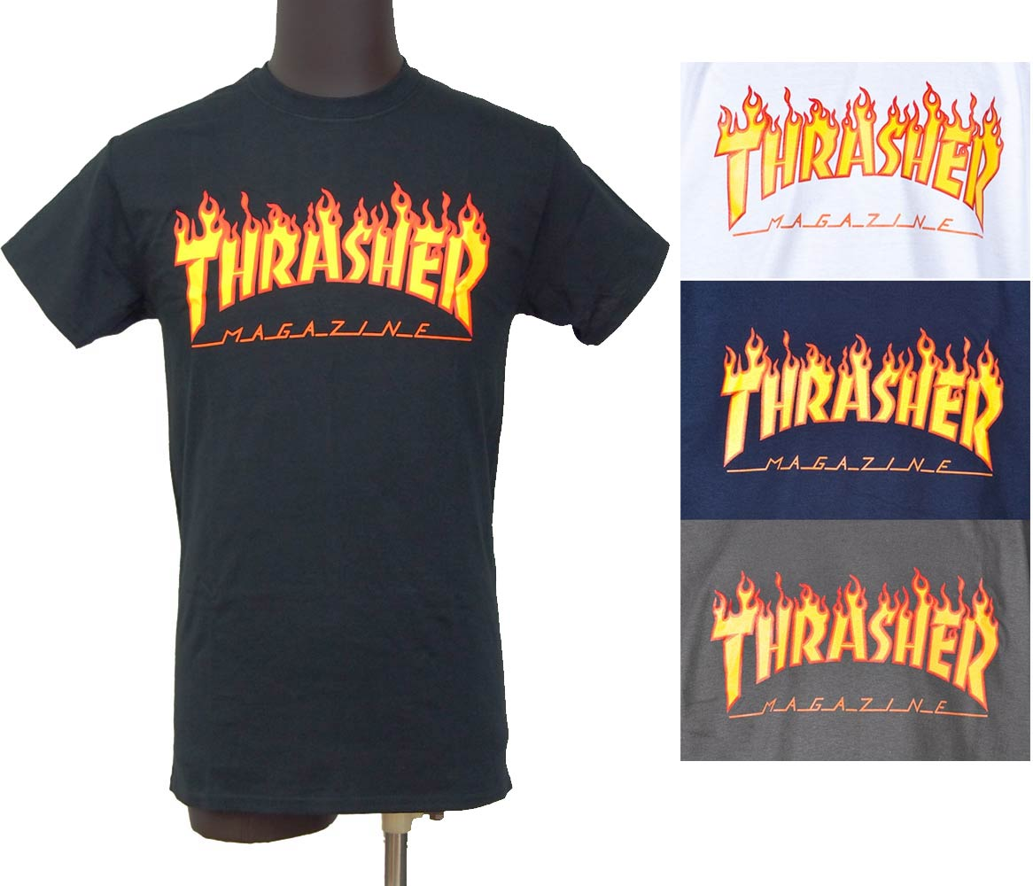46237900d1cf Thrasher THRASHER FLAME LOGO T shirt MAG LOGO medium-sized stickers present  genuine