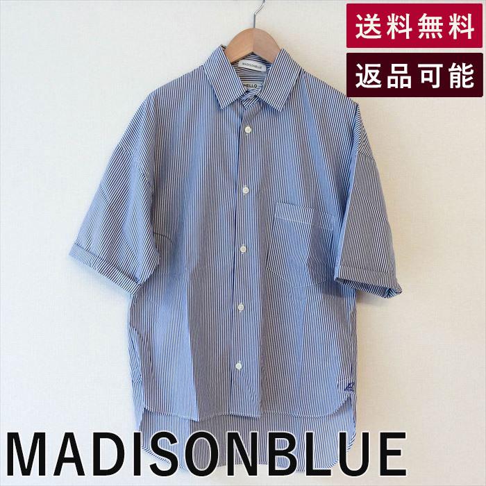 【中古】MADISON BLUE マディソンブルー ブラウス ストライプ ワイド ゆったり 半袖  マジソンブルー スタイル シンプル 大人女子 着こなし ニット シンプル 40代 かっこいい レディース キレイめ きれいめ 大人可愛い トップス キッチリ フォーマル カジュアル