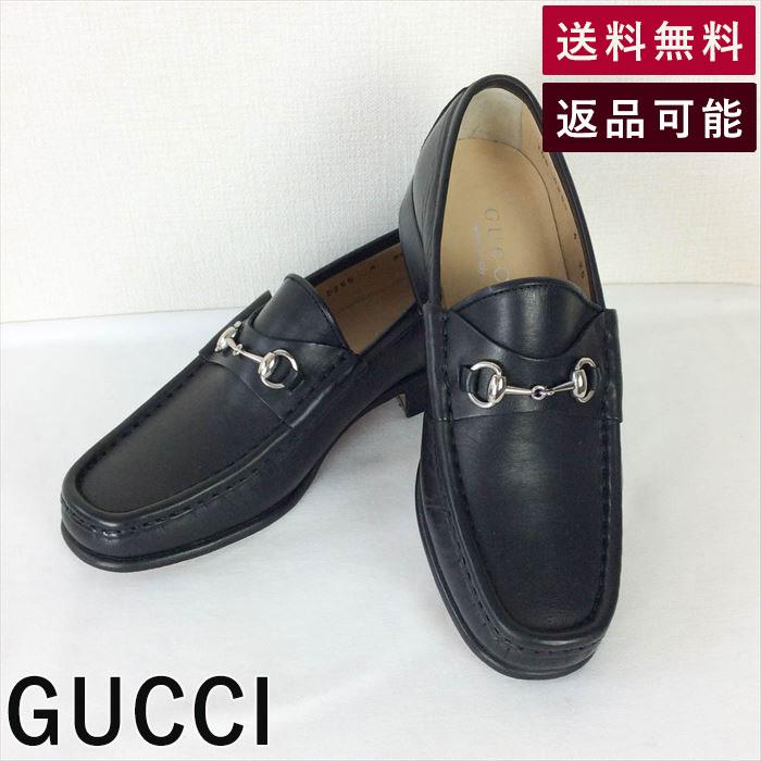 【中古】グッチ GUCCI ローファー ビット付き 黒×シルバー 35C