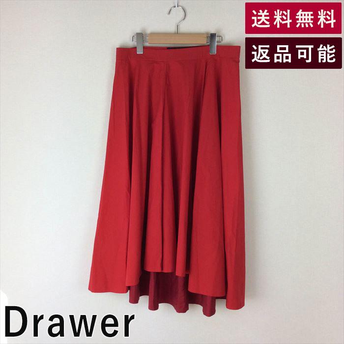 【中古】ドゥロワー Drawer スカート 赤 フレア ロング レッド C1127G028-C1224