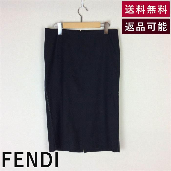【中古】フェンディ FENDI スカート 黒 レザーステッチ ミディアム ウール B1227H001-D0107