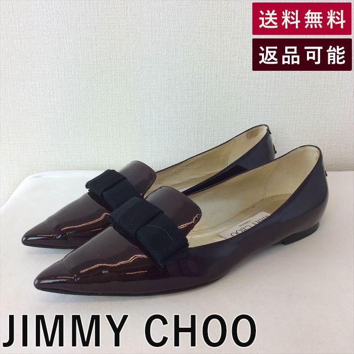 【中古】ジミーチュウ JIMMY CHOO フラットシューズ ポインテッドトゥ エナメル リボン C0422K010-D0114
