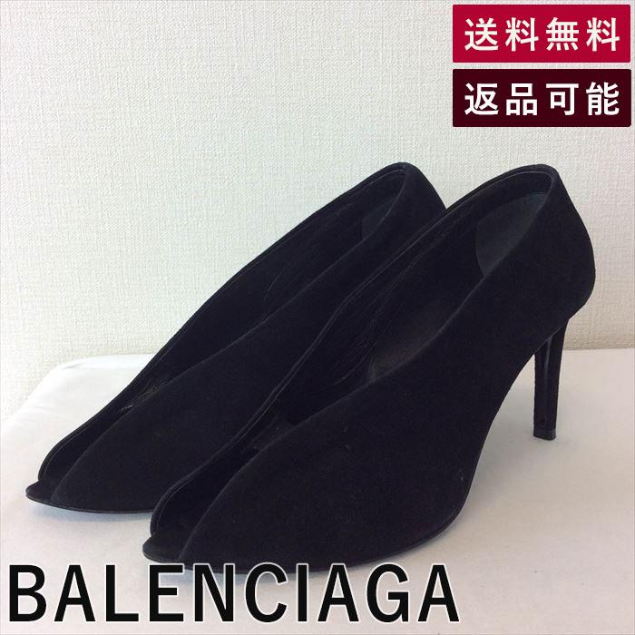 【中古】バレンシアガ BALENCIAGA 靴 ベロア 黒 ポインテッドトゥ B0627T004-D0114
