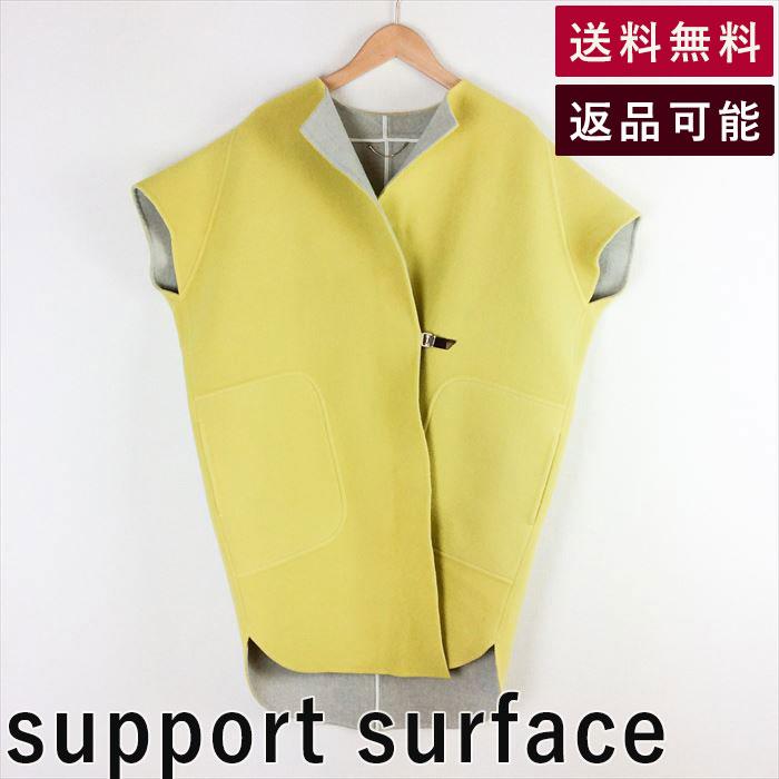 【中古】サポートサーフェス support surface コート ダブルフェイス イエロー サイズS D0217A002-D0226