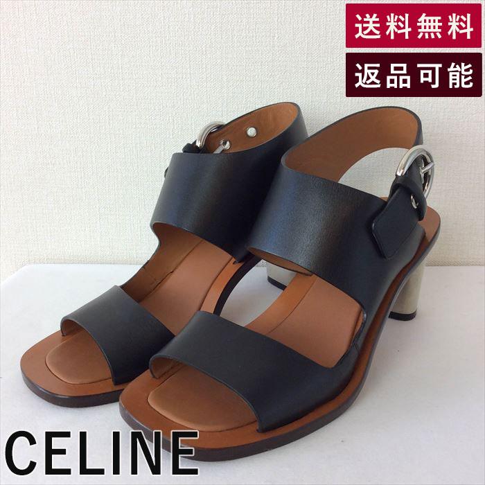 【中古】セリーヌ CELINE サンダル ゆったり ブラック メタルヒール B0927Y003-D0303