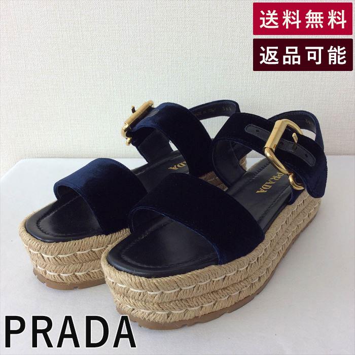 【中古】プラダ PRADA サンダル 厚底 ネイビー ベルベット B1105U011-D0303