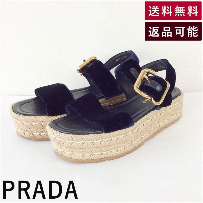 【中古】プラダ PRADA サンダル サイズ36 1/2 ネイビー ジュートプラットフォーム C0304I001-D0316