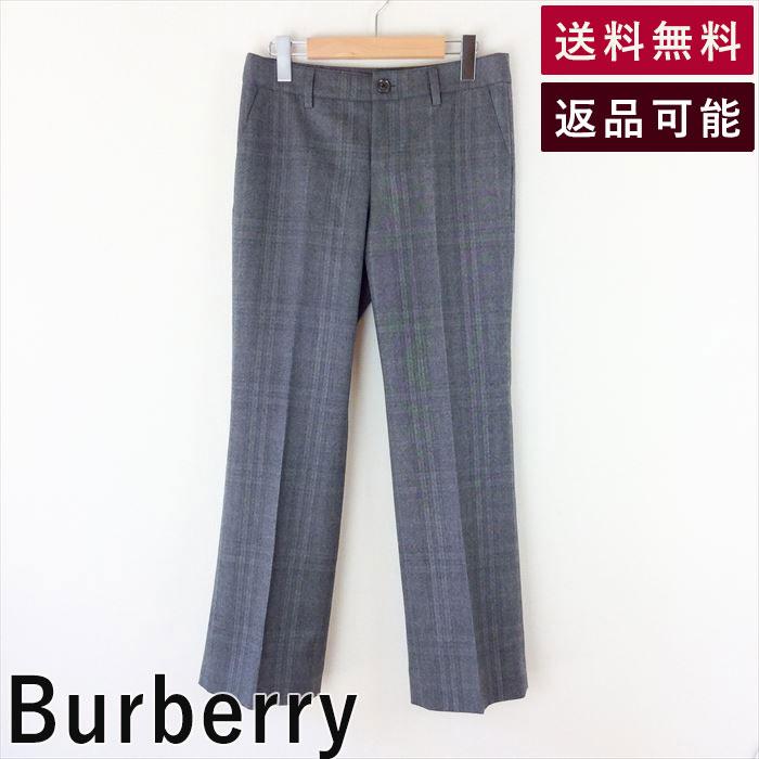 【中古】バーバリー Burberry チェックパンツ サイズ40 グレー ウールストレート D0224S043-D0325