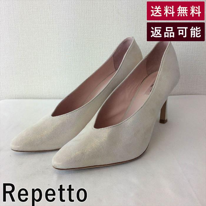 【中古】レペット Repetto パンプス ポインテッド ハイヒール ラメ D0326K007-D0402