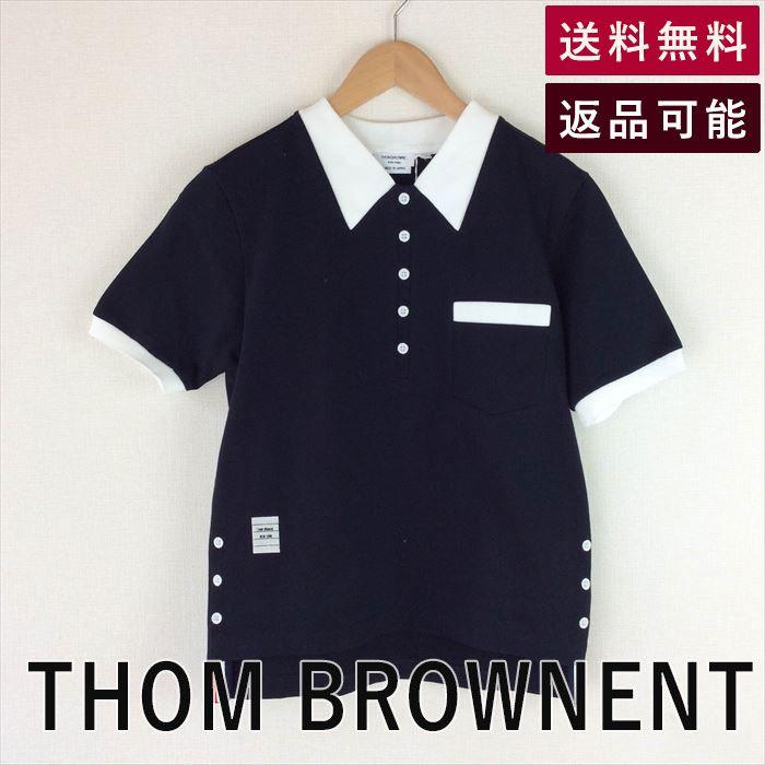 【中古】トムブラウン THOM BROWNE Tシャツ カットソー 半袖 刺繍 D0327T009-D0407