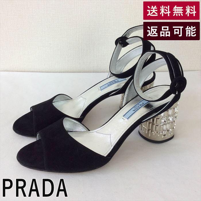 【中古】プラダ PRADA サンダル 36  1/2 ブラック シルバー ビジュー B0828I001-D0901