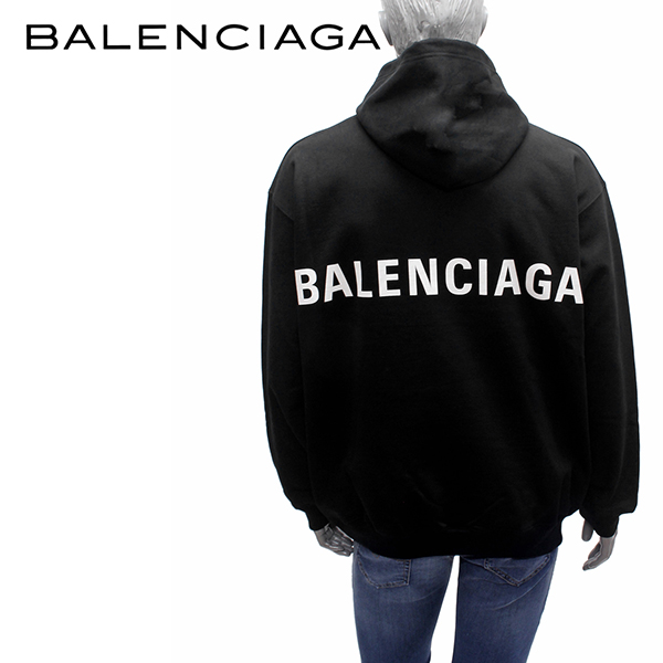 【2019SS】バレンシアガ バックロゴ メンズ プルオーバーパーカー【ブラック】556143 TAV37 1000/BALENCIAGA/m-tops