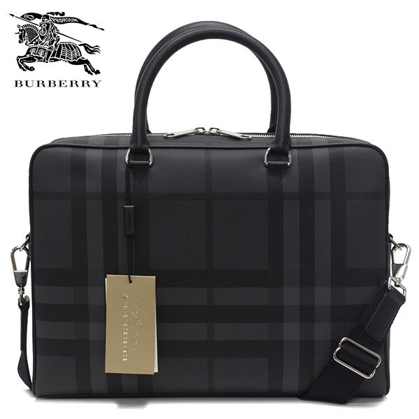【2019SS】バーバリー AINSWORTH ロンドンチェック&レザー ブリーフケース【CHARCOAL/BLACK】8005158 CHARCOAL/BLACK/BURBERRY/m-bag