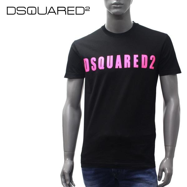 【2019SS】ディースクエアード 蛍光ロゴ 半袖Tシャツ【ブラック】GD0488 S22427 978X/DSQUARED2/m-tops