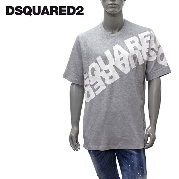 【2020SS】ディースクエアード 斜めロゴプリント Tシャツ【メランジグレー】GD0698 S22146 857M/DSQUARED2/m-tops