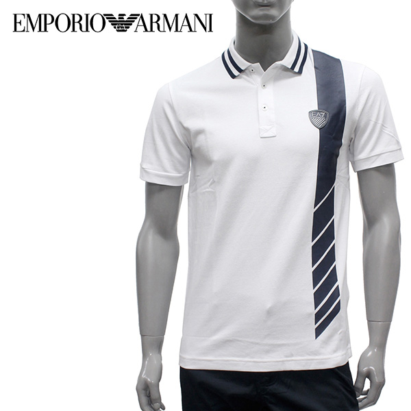 【2019SS】エンポリオ・アルマーニ EA7 セッテボディーライン 鹿の子ポロシャツ【ホワイト】3GPF66 PJ61Z 1100/EMPORIO ARMANI/m-tops
