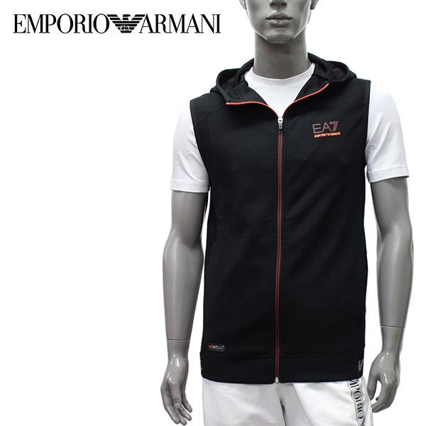 【2020SS】エンポリオアルマーニ EA7 VENTUS7 フード付きベスト【ブラック】3HPM35 PJ9CZ 1200/EMPORIO ARMANI/m-tops