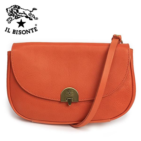 *イル ビゾンテロック式ロゴプレートハンドバッグ【オレンジ】A2310 P 166(ORANGE)/IL BISONTE
