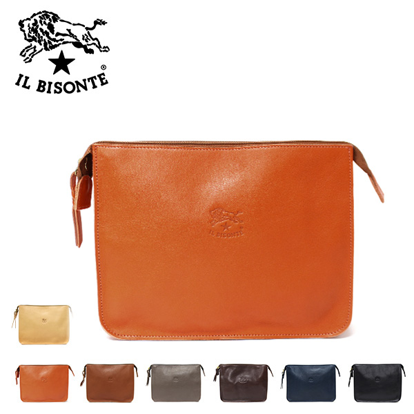 【2018-19AW】イル ビゾンテレザークラッチバッグ【120 NATURAL 153 BLACK 145 CAMEL 166 ORANGE 869 MARRON】A0024 P /IL BISONTE/l-bag